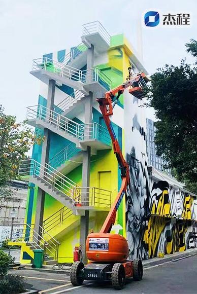 曲臂登高车出租应用于高空绘画